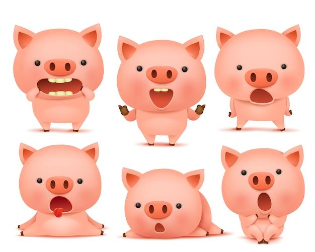 Zbiór zabawnych postaci cmoticon świni w różnych emocjach