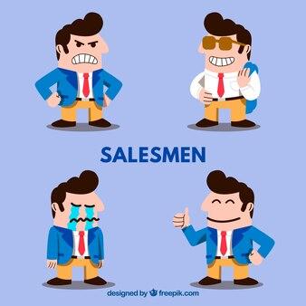 Zbiór zabawnych postaci sprzedawca