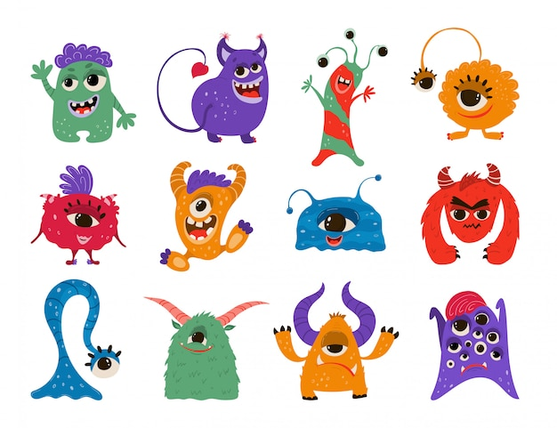 Zbiór zabawnych potworów w stylu cartoon.