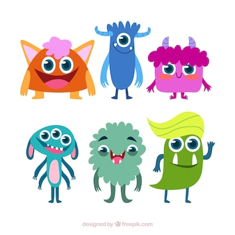 Zbiór zabawnych potworów w stylu płaski