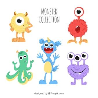 Zbiór zabawnych potworów w stylu wyciągnąć rękę