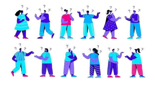 Zbiór zdezorientowanych dziewcząt i chłopców, zadawanie pytań i myślenia płaski niebieski charakter ludzi