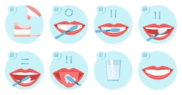 Zbiór zdjęć czystych zębów.