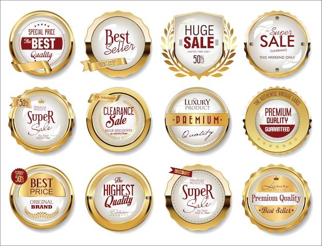 Zbiór złotych odznaki etykiet i metek