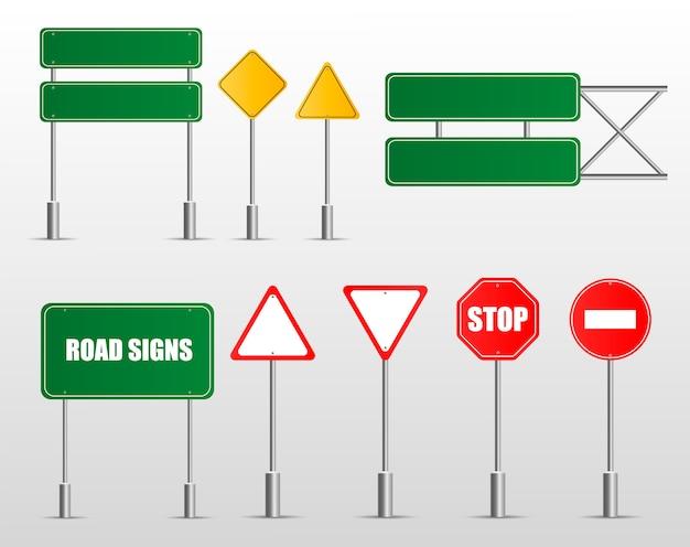 Zbiór znaków drogowych ostrzegawczych, obowiązkowych, zakazowych i informacyjnych. kolekcja europejskich znaków drogowych.