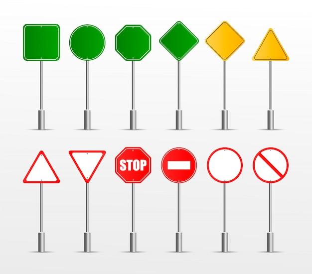 Zbiór znaków drogowych ostrzegawczych, obowiązkowych, zakazowych i informacyjnych.