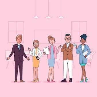 Zbiór znaków kolegów z biura duży zestaw izolowanych płaskich ilustracji noszących profesjonalny mundur, styl kreskówki