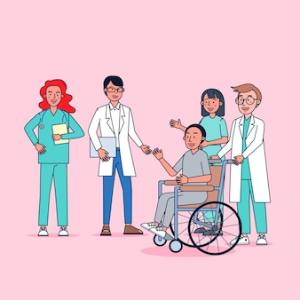 Zbiór znaków lekarzy duży zestaw izolowanych płaskich ilustracji noszących profesjonalny mundur, styl kreskówki na temat szpitala