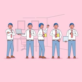 Zbiór znaków pracowników duży zestaw izolowanych płaskich ilustracji noszących profesjonalny mundur, styl kreskówki.
