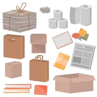 Zbiórka makulatury na białym tle. gazety, pudełka, zeszyty, książki i inne śmieci. produkty z makulatury. ilustracja wektorowa śmieci do recyklingu papieru.