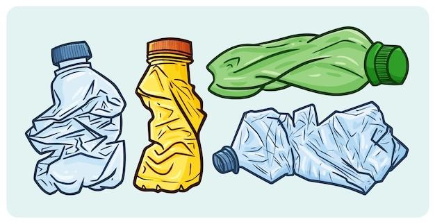 Zbiórka Odpadów Z Plastikowych Butelek W Prostym Stylu Premium Wektorów
