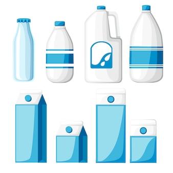 Zbiórka pojemników na mleko. pudełko kartonowe, butelka plastikowa i szklana. szablon mleka. ilustracja na białym tle.