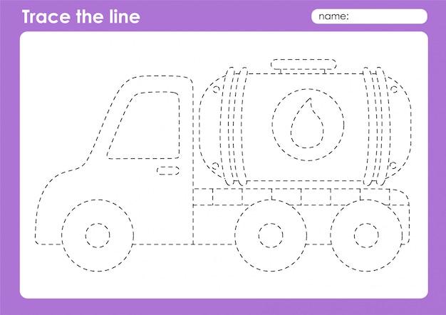 Zbiornik oleju - arkusz śledzenia linii transportowych dla dzieci w wieku przedszkolnym