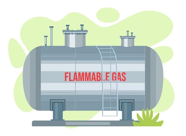 Zbiornik wektorowy cysterny gazowej. pojemnik na ikonę propanu. cylindryczny pojemnik na paliwo z tlenem