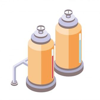 Zbiorniki dla przemysłu płynnego, chemicznego lub spożywczego. ilustracja w rzucie izometrycznym, na białym tle.