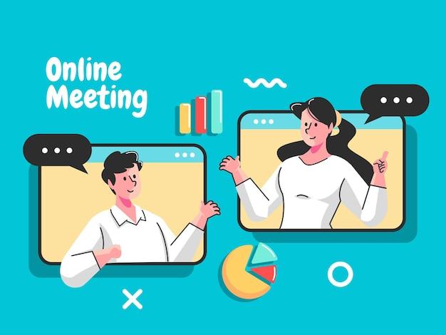 Zbiorowe spotkanie wirtualne spotkanie online i grupowa wideokonferencja