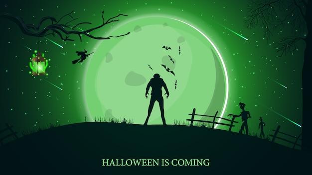 Zbliża się halloween, piękna pozioma pocztówka z zielonym krajobrazem halloweenowym, wilkołakiem, dużym księżycem i zombie