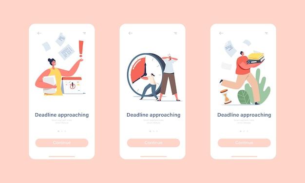 Zbliżający się do terminu ostateczny szablon ekranu aplikacji mobilnej. niespokojne postacie biznesowe w chaos office workplace