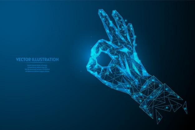 Zbliżenie dłoni pokazuje gest ok, gest jest dobry. pojęcie komunikacji, biznesu, edukacji. innowacyjny design.