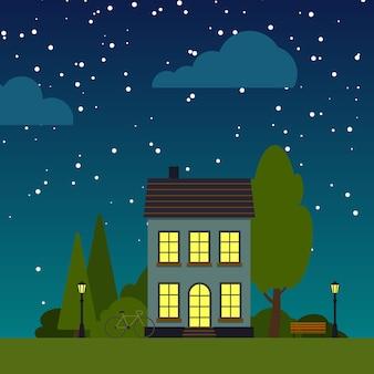 Zbliżenie domu noc ulicy płaski kreskówka kwadratowy sztandar. pojedynczy dom pod rozgwieżdżonym niebem. krajobraz miasteczka miejskiego z drzewami, krzewami, chmurami. podmiejska wieś w sąsiedztwie pejzaż miejski