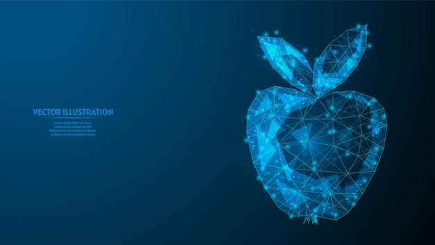 Zbliżenie jabłka. koncepcja biznesowa, zdrowe jedzenie wegetariańskie. słodki owoc świeżych owoców. styl kosmiczny. innowacyjna medycyna i technologia. 3d model szkieletowy low poly ilustracja.