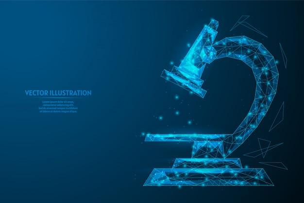 Zbliżenie mikroskopu. sprzęt laboratoryjny, szkolny, biologiczny do badania wirusów, bakterii. lekarstwo na koronawirusa. innowacyjna technologia medyczna. 3d low poly ilustracja.