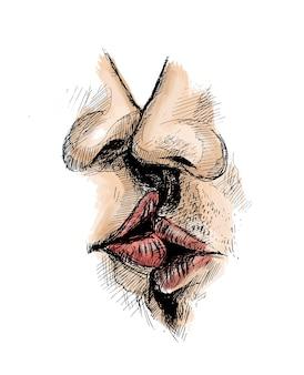 Zbliżenie piękna namiętna para całuje