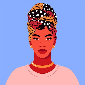 Zbliżenie portret nowoczesnej, tętniącej życiem młodej kobiety w chuście na głowie