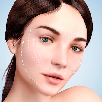 zbliżenie spojrzenie na piękny model, efekt liftingu skóry z białymi strzałkami na twarzy do zabiegów kosmetycznych lub medycznych, ilustracja 3d