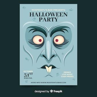 Zbliżenie twarzy dracula szablon halloween ulotki party