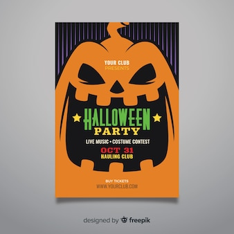 Zbliżenie twarzy dyni halloween party plakat