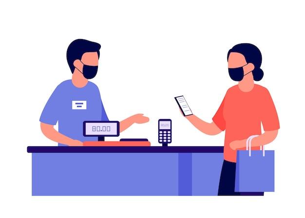 Zbliżeniowa Płatność Mobilna W Sklepie Za Zakupy Przez Nfc Rfid Premium Wektorów