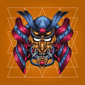 Zbroja mecha głowy samuraja z geometrią