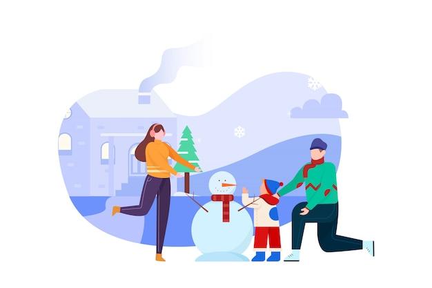 Zbuduj bałwana z rodziną na zimowej ilustracji