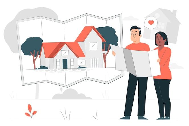 Zbuduj ilustrację koncepcji domu