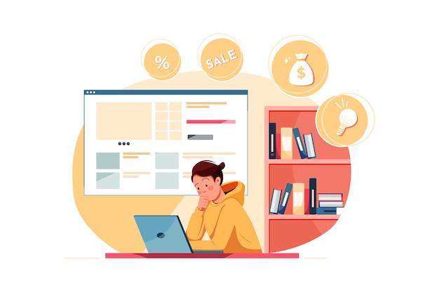 Zbuduj koncepcję ilustracji sklepu internetowego