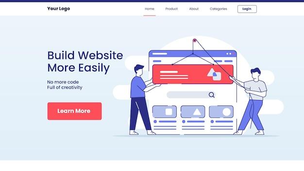 Zbuduj łatwiejszą witrynę internetową koncepcja projektu strony głównej docelowej szablonu witryny