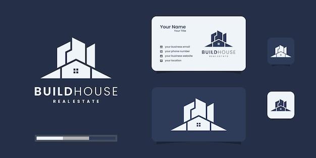 Zbuduj logo domu o płaskiej konstrukcji. budowanie domu streszczenie dla inspiracji do projektowania logo