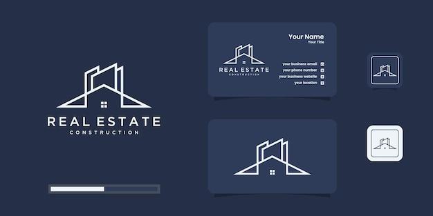 Zbuduj Logo Domu W Stylu Grafiki Liniowej. Budowa Domu Streszczenie Premium Wektorów