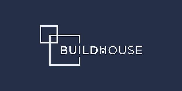 Zbuduj logo domu w stylu grafiki liniowej. budowanie domu abstrakcyjne projektowanie logo