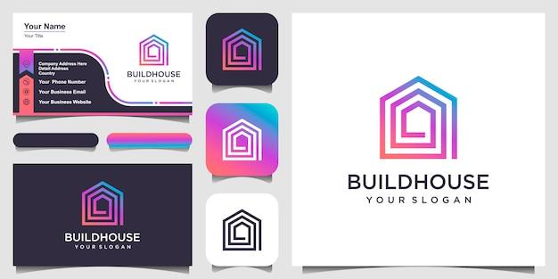 Zbuduj logo domu w stylu grafiki liniowej. streszczenie budowy domu logo i wizytówki
