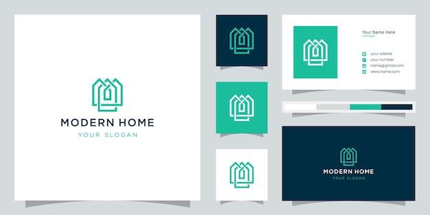 Zbuduj logo domu w stylu grafiki liniowej. streszczenie projektu domu dla inspiracji logo