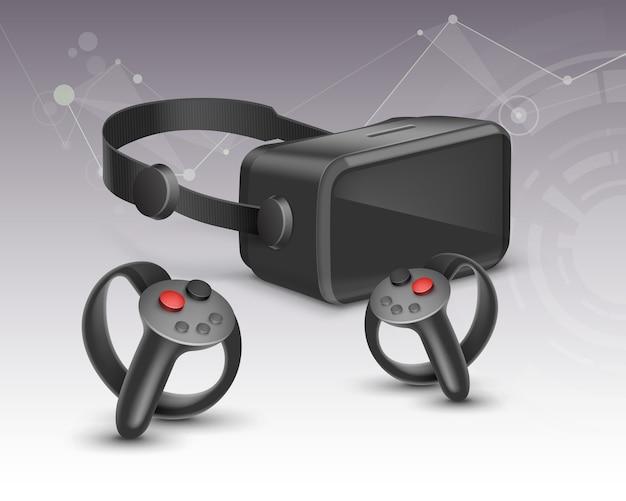 Zdalne kontrolery rzeczywistości wirtualnej i optyczny wyświetlacz montowany na głowie na białym tle na tle