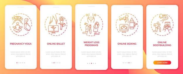 Zdalne programy szkoleniowe wprowadzające ekran strony aplikacji mobilnej z koncepcjami. balet online, spalanie tłuszczu kroki solucje. ilustracje szablonów interfejsu użytkownika