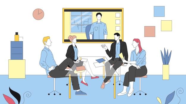Zdalne spotkanie wideo między współpracownikami. cztery postacie siedzą w biurze i mają rozmowę wideo z kolegą. liniowy skład z konspektem.
