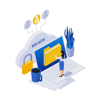 Zdalne zarządzanie składem ikon izometrycznych na odległość z kobietą dotykającą ikony folderu na laptopie