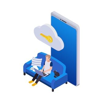 Zdalne zarządzanie składem ikon izometrycznych na odległość z mężczyzną siedzącym na kanapie z kluczową ikoną chmury i smartfonem