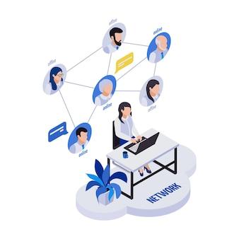 Zdalne zarządzanie składem ikon izometrycznych pracy zdalnej z kobietą siedzącą przy stole ze schematem blokowym pracowników zdalnych