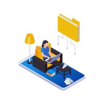 Zdalne zarządzanie składem ikon izometrycznych z odległą pracą z kobietą pracującą w domu z ikoną folderu