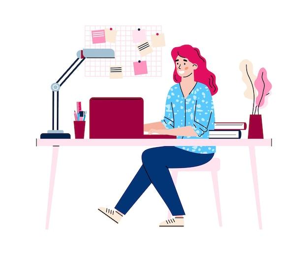 Zdalnie pracująca w domu mama odosobniona ilustracja